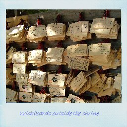 Wishboards outside the shrine. Click to enlarge