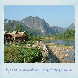 By the riverside in Vang Vieng, Laos
